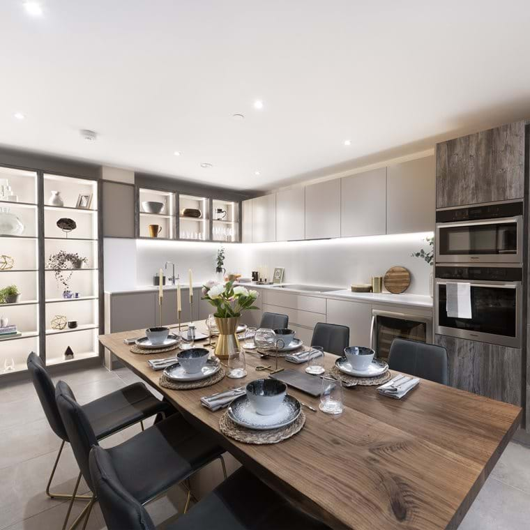 Wharf Road | Private Sale Show Home - Kitchen & Dining area (3-bed duplex)